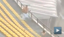 There's Nothing Creepy about Frolicking Through a Soccer Stadium Rain Delay