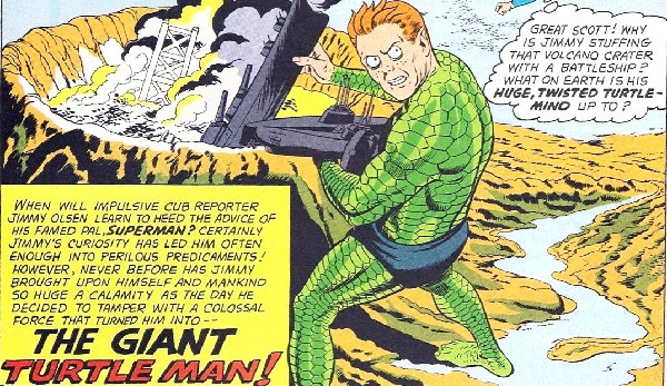 Jimmy Olsen As A Giant Prehistoric Turtle/Dinosaur