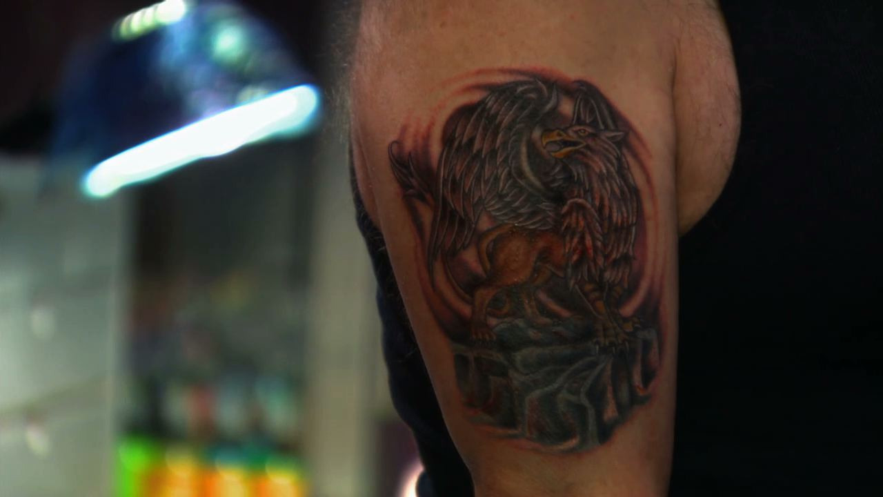 Jasmine rodriguez saves the day with a griffin tattoo for Is tattoo nightmares still on